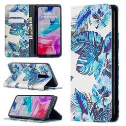 Blue Leaf Slim Magnetic Attraction Wallet Flip Cover for Mi Xiaomi Redmi 8
