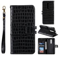 Luxury Crocodile Magnetic Leather Wallet Phone Case for Mi Xiaomi Redmi 8 - Black