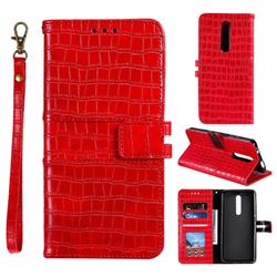 Luxury Crocodile Magnetic Leather Wallet Phone Case for Mi Xiaomi Redmi 8 - Red