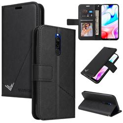 GQ.UTROBE Right Angle Silver Pendant Leather Wallet Phone Case for Mi Xiaomi Redmi 8 - Black