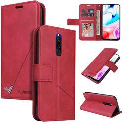 GQ.UTROBE Right Angle Silver Pendant Leather Wallet Phone Case for Mi Xiaomi Redmi 8 - Red