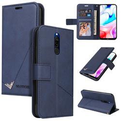 GQ.UTROBE Right Angle Silver Pendant Leather Wallet Phone Case for Mi Xiaomi Redmi 8 - Blue