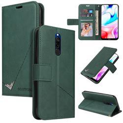 GQ.UTROBE Right Angle Silver Pendant Leather Wallet Phone Case for Mi Xiaomi Redmi 8 - Green