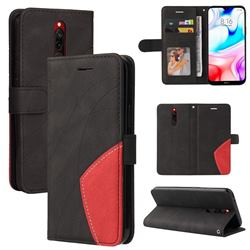 Luxury Two-color Stitching Leather Wallet Case Cover for Mi Xiaomi Redmi 8 - Black