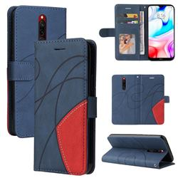 Luxury Two-color Stitching Leather Wallet Case Cover for Mi Xiaomi Redmi 8 - Blue