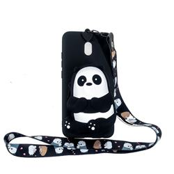Cute Panda Neck Lanyard Zipper Wallet Silicone Case for Mi Xiaomi Redmi 8A