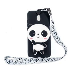 White Panda Neck Lanyard Zipper Wallet Silicone Case for Mi Xiaomi Redmi 8A