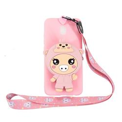 Pink Pig Neck Lanyard Zipper Wallet Silicone Case for Mi Xiaomi Redmi 8A