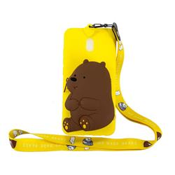 Yellow Bear Neck Lanyard Zipper Wallet Silicone Case for Mi Xiaomi Redmi 8A