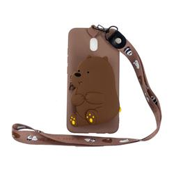 Brown Bear Neck Lanyard Zipper Wallet Silicone Case for Mi Xiaomi Redmi 8A