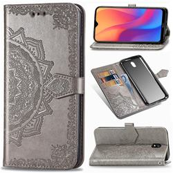 Embossing Imprint Mandala Flower Leather Wallet Case for Mi Xiaomi Redmi 8A - Gray