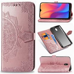Embossing Imprint Mandala Flower Leather Wallet Case for Mi Xiaomi Redmi 8A - Rose Gold