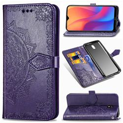 Embossing Imprint Mandala Flower Leather Wallet Case for Mi Xiaomi Redmi 8A - Purple