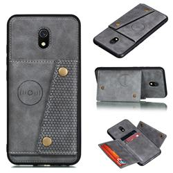 Retro Multifunction Card Slots Stand Leather Coated Phone Back Cover for Mi Xiaomi Redmi 8A - Gray