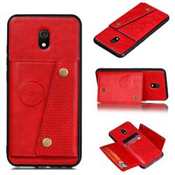 Retro Multifunction Card Slots Stand Leather Coated Phone Back Cover for Mi Xiaomi Redmi 8A - Red