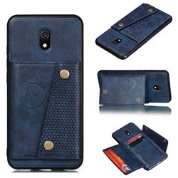 Retro Multifunction Card Slots Stand Leather Coated Phone Back Cover for Mi Xiaomi Redmi 8A - Blue
