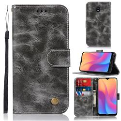 Luxury Retro Leather Wallet Case for Mi Xiaomi Redmi 8A - Gray