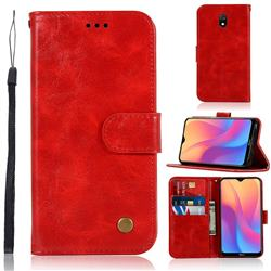Luxury Retro Leather Wallet Case for Mi Xiaomi Redmi 8A - Red