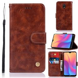 Luxury Retro Leather Wallet Case for Mi Xiaomi Redmi 8A - Brown