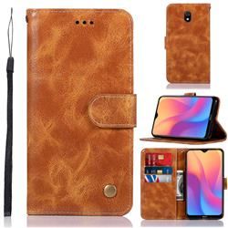 Luxury Retro Leather Wallet Case for Mi Xiaomi Redmi 8A - Golden