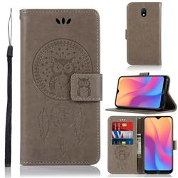 Intricate Embossing Owl Campanula Leather Wallet Case for Mi Xiaomi Redmi 8A - Grey