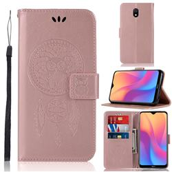 Intricate Embossing Owl Campanula Leather Wallet Case for Mi Xiaomi Redmi 8A - Rose Gold