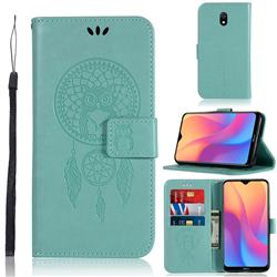Intricate Embossing Owl Campanula Leather Wallet Case for Mi Xiaomi Redmi 8A - Green