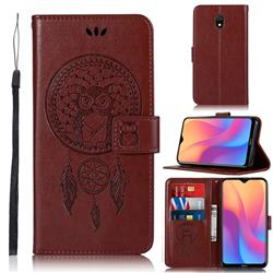 Intricate Embossing Owl Campanula Leather Wallet Case for Mi Xiaomi Redmi 8A - Brown