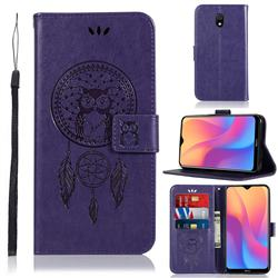 Intricate Embossing Owl Campanula Leather Wallet Case for Mi Xiaomi Redmi 8A - Purple