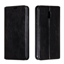 Retro Slim Magnetic Crazy Horse PU Leather Wallet Case for Mi Xiaomi Redmi 8A - Black
