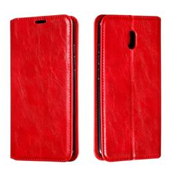 Retro Slim Magnetic Crazy Horse PU Leather Wallet Case for Mi Xiaomi Redmi 8A - Red