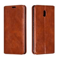Retro Slim Magnetic Crazy Horse PU Leather Wallet Case for Mi Xiaomi Redmi 8A - Brown