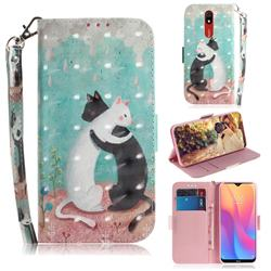 Black and White Cat 3D Painted Leather Wallet Phone Case for Mi Xiaomi Redmi 8A