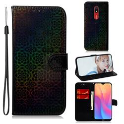 Laser Circle Shining Leather Wallet Phone Case for Mi Xiaomi Redmi 8A - Black