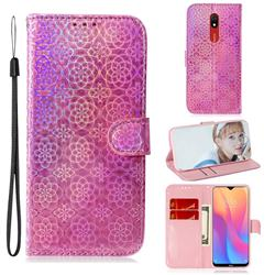Laser Circle Shining Leather Wallet Phone Case for Mi Xiaomi Redmi 8A - Pink
