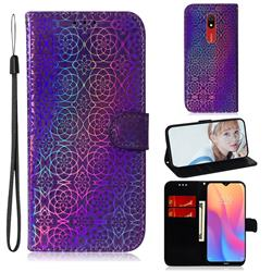 Laser Circle Shining Leather Wallet Phone Case for Mi Xiaomi Redmi 8A - Purple
