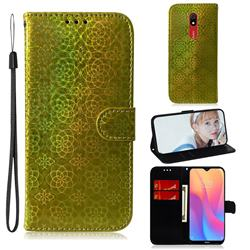 Laser Circle Shining Leather Wallet Phone Case for Mi Xiaomi Redmi 8A - Golden