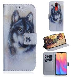 Snow Wolf PU Leather Wallet Case for Mi Xiaomi Redmi 8A