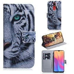 White Tiger PU Leather Wallet Case for Mi Xiaomi Redmi 8A