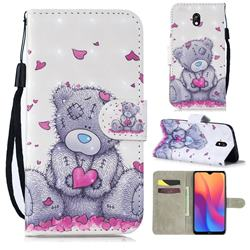 Love Panda 3D Painted Leather Wallet Phone Case for Mi Xiaomi Redmi 8A