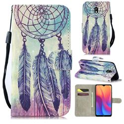 Feather Wind Chimes 3D Painted Leather Wallet Phone Case for Mi Xiaomi Redmi 8A