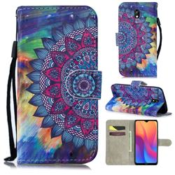 Oil Painting Mandala 3D Painted Leather Wallet Phone Case for Mi Xiaomi Redmi 8A