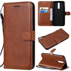 Retro Greek Classic Smooth PU Leather Wallet Phone Case for Mi Xiaomi Redmi 8A - Brown