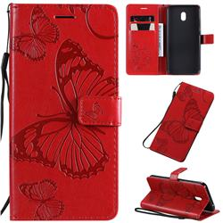 Embossing 3D Butterfly Leather Wallet Case for Mi Xiaomi Redmi 8A - Red