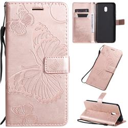 Embossing 3D Butterfly Leather Wallet Case for Mi Xiaomi Redmi 8A - Rose Gold
