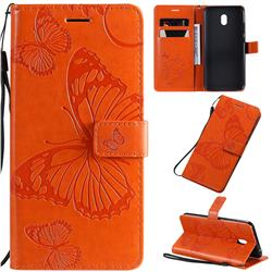 Embossing 3D Butterfly Leather Wallet Case for Mi Xiaomi Redmi 8A - Orange