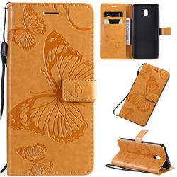 Embossing 3D Butterfly Leather Wallet Case for Mi Xiaomi Redmi 8A - Yellow