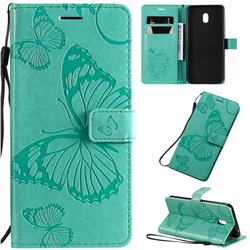 Embossing 3D Butterfly Leather Wallet Case for Mi Xiaomi Redmi 8A - Green