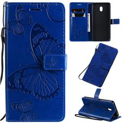 Embossing 3D Butterfly Leather Wallet Case for Mi Xiaomi Redmi 8A - Blue