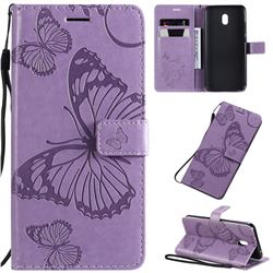 Embossing 3D Butterfly Leather Wallet Case for Mi Xiaomi Redmi 8A - Purple